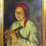 Porträtt av systern Karin med flöjt. (inköp sept-12)